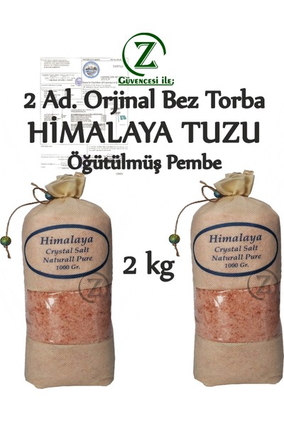 Himalaya İthal Himalaya Tuzu Öğütülmüş Pembe - 2 Kg. Orjinal Bez Torba 2 Adet