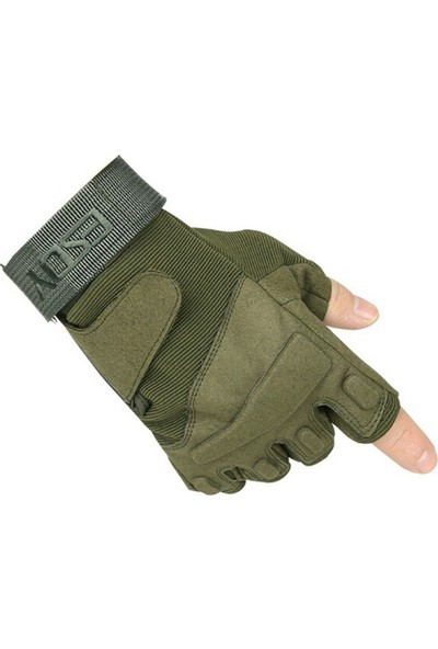 Esdy Tactical Kesik Parmak Haki Yeşil Suede Eldiven