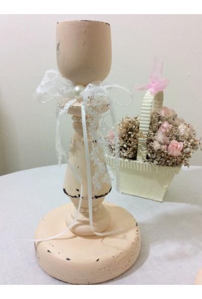 Victorian Rose Boutique Vintage Beyaz Eskitme 2'Li Şamdan