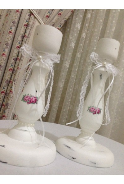 Victorian Rose Boutique Çiçekli Beyaz 2'Li Şamdan