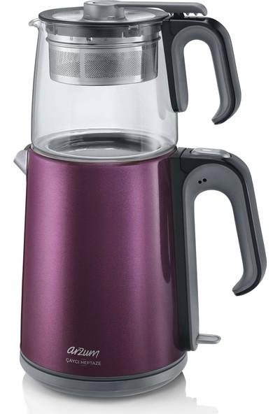 Arzum AR3031 Çaycı Heptaze Çay Makinesi - Inox / Cam - Mürdüm