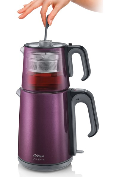 Arzum AR3032 Çaycı Heptaze Çay Makinesi - Inox / Inox - Mürdüm