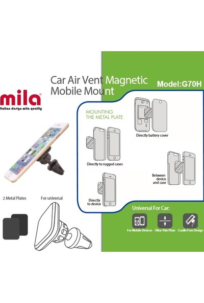 MILA Stand Özellikli Magnetli Araç Tutucu - HC02H