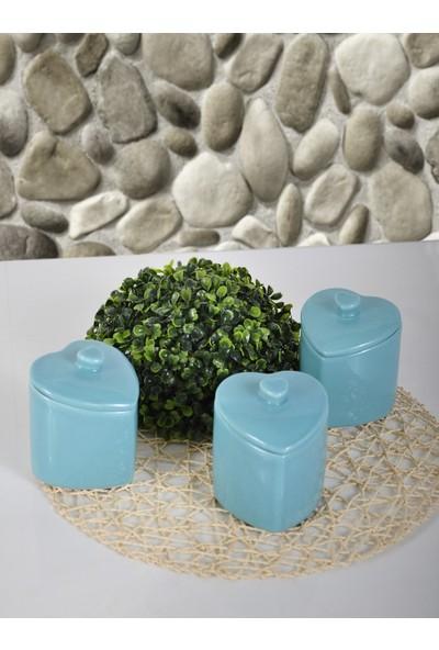 Keramika 3'lü 10 Cm Turkuaz Kalp Baharatlik