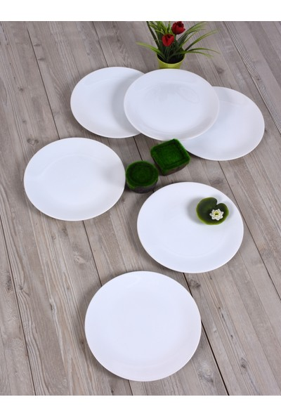 Keramika 6 Adet 20 Cm Beyaz Ege Pasta Tabağı