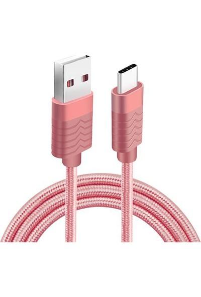 Fineblue Type C Hızlı Şarj Ve Usb Data Kablo Örgü Pembe Fc7