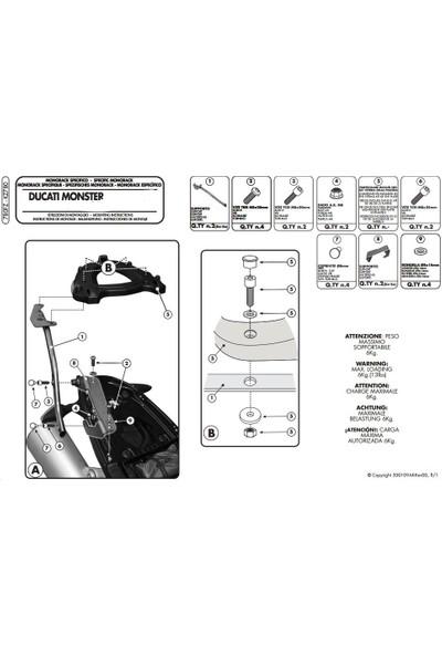 Gıvı 780fz Ducatı Monster 696-796-1100 - 1100evo (08-14) Arka Çanta Taşıyıcı