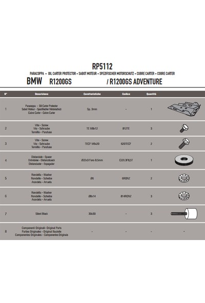 Gıvı Rp5112 Bmw R1200gs - R1200gs Adventure (13-16) - R1200r / Rs (15-16) Karter Koruma