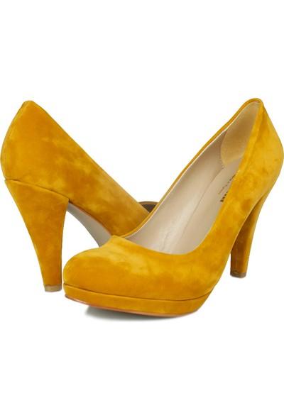 Loggalin 580401 031 227 Kadın Hardal Kadife Platform Ayakkabı
