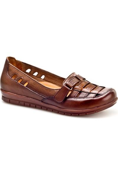 Cabani Cırt Bantlı Lazerli Günlük Kadın Ayakkabı Taba Deri