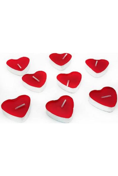 Toptancı Kapında Kalp Şeklinde Kırmızı Mum 50 Adet - Kırmızı
