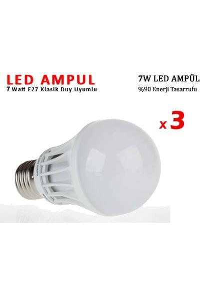 Toptancı Kapında 7W Enerji Tasarruflu Led Ampul ( 3 Adet )