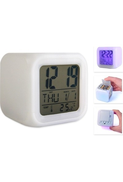Toptancı Kapında 7 Renk Değiştiren Alarmlı Dijital Küp Saat