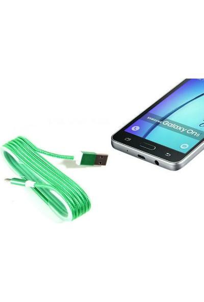 Toptancı Kapında Android Örgü Şeklinde Renkli Çelik Şarj Data Kablosu - Yeşi