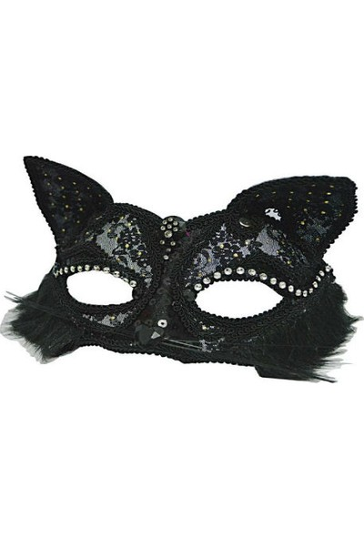 Toptancı Kapında Dantelli Kedi Maskesi - Siyah