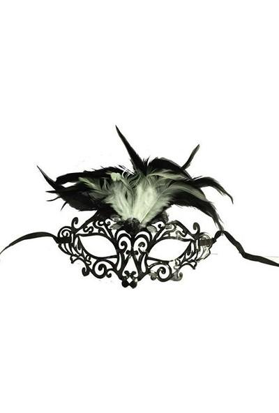 Toptancı Kapında Tüylü Plastik Venedik Parti Maskesi - Siyah
