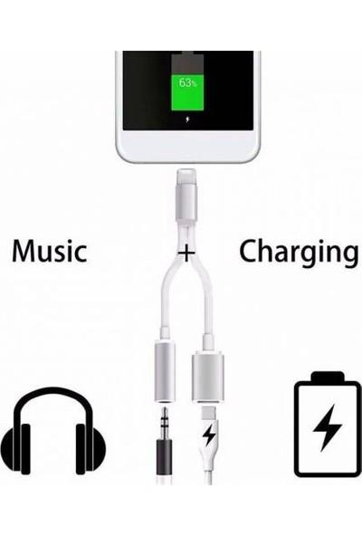 Alaca Apple İPhone 7 Aux Lightning 2in1 Kablo Kulaklık Çevirici ve Şarj Aynı Anda