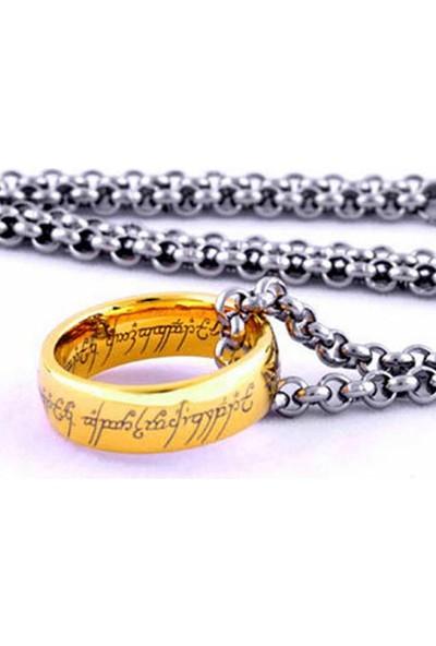 A-Leaf Lord Of The Rings 8Mm Tungsten Yüzüklerin Efendisi Yüzük Güç Yüzüğü Altın