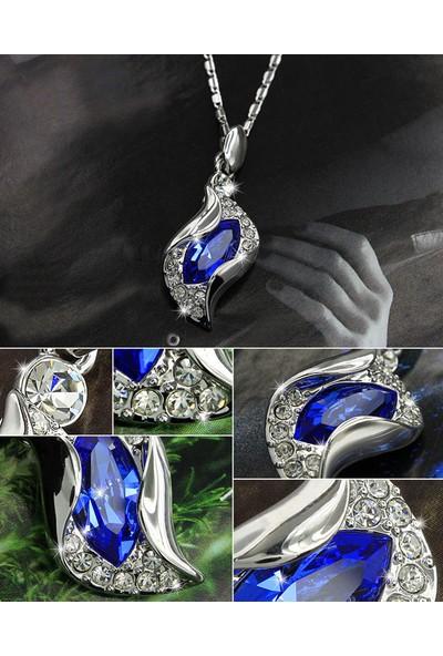 A-Leaf My Love Kolye Küpe Bileklik Set Avusturya Kristali Bayan Takı Seti - Renk Mavi