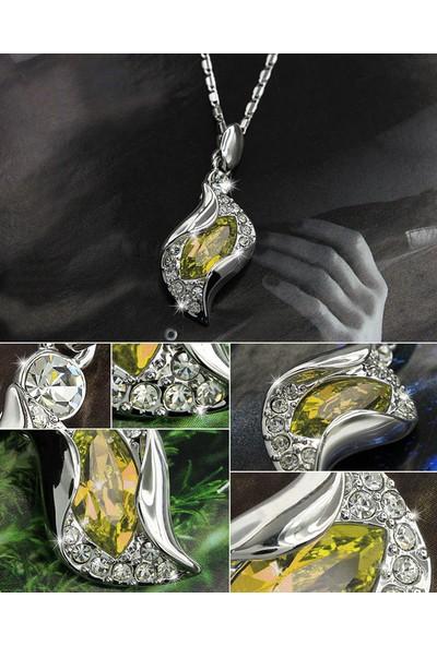 A-Leaf My Love Kolye Küpe Bileklik Set Avusturya Kristali Bayan Takı Seti - Renk Sarı