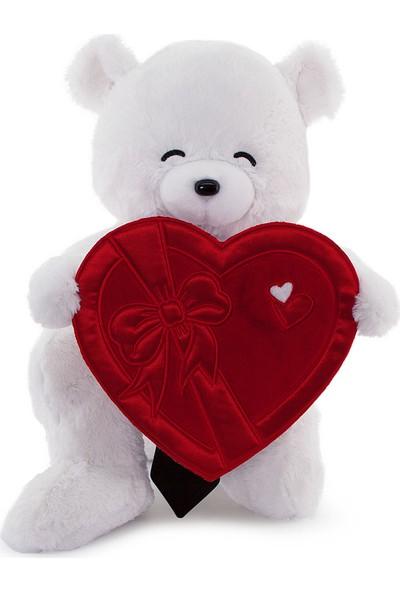 Neco Plush Sevgiliye Hediye Fluffy Kalp Kutu Flamalı Serenat Ayı 55 cm
