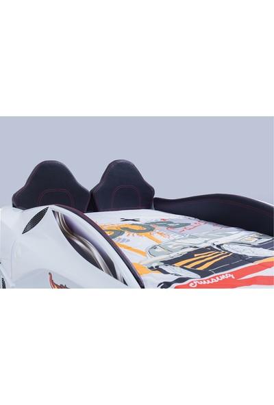 FastBack Araba Yatak Full Beyaz Çocuk Karyolası