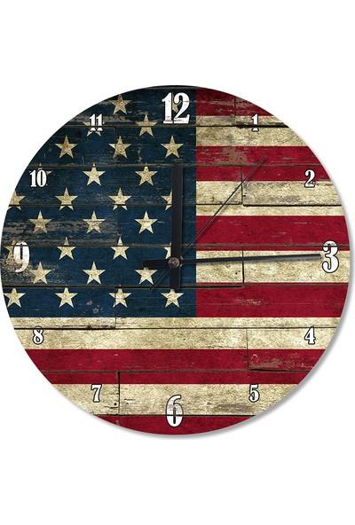Tablomega Amerikan Bayrağı Ahşap Duvar Saati