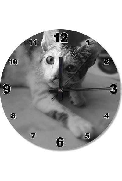 Tablomega Kedi Oyunu Ahşap Duvar Saati