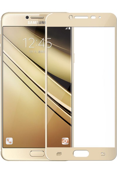 Case 4U Samsung Galaxy C7 Full Kapatan Cam Ekran Koruyucu Altın