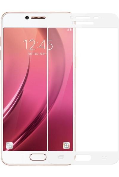 Case 4U Samsung Galaxy C7 Full Kapatan Cam Ekran Koruyucu Beyaz