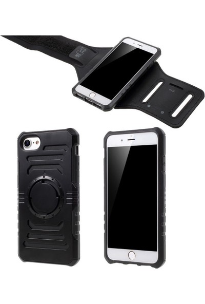 CoverZone Apple iPhone 7 Plus Kılıf 2in 1 Kol Bandı Sert Mıknatıslı
