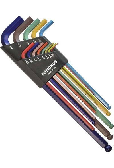 Bondhus 69637 Extra Uzun Top Başlı İnç Ölçü Allen Anahtar Seti Renkli İzole 13 Parça
