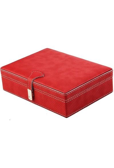 DearyBox KKD-03 Kırmızı Deri Küçük Boy Aksesuar ve Takı Kutusu