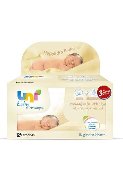 Uni Baby Gk-9470231 Yenidoğan Islak Pamuk Mendil 3'lü 40 x 3