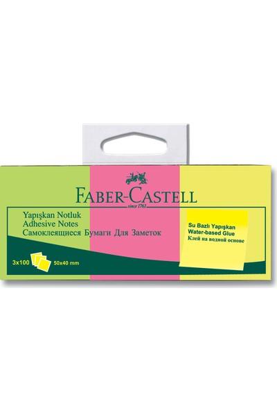 Faber-Castell Bls. Yapışkan Notluk 50x40mm, Karışık Fosforlu 3 Renk