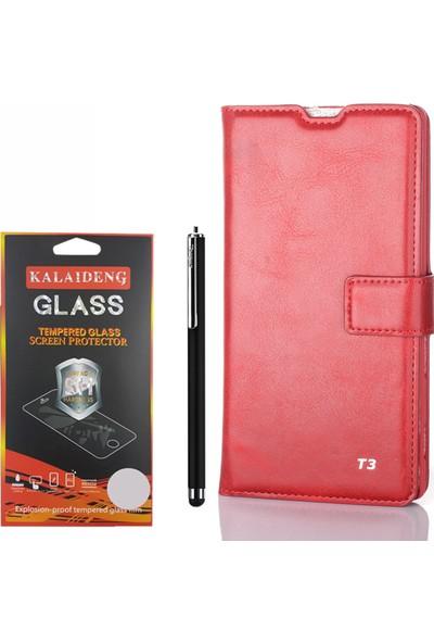 Gpack Sony Xperia T3 Kılıf Standlı Serenity Cüzdan +Kalem +Cam