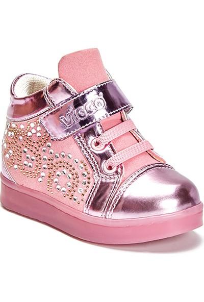 Vicco Cırtlı Taşlı Işıklı Kız Ayakkabı Pembe