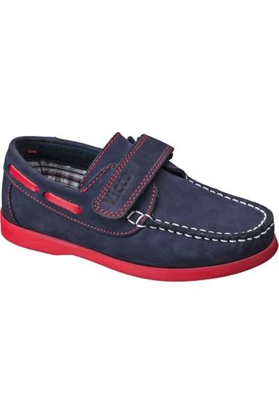 Vicco Cırtlı Çocuk Deri Ayakkabı Lacivert
