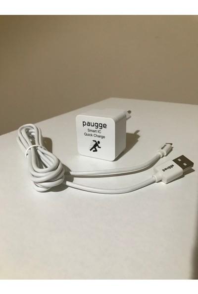 Paugge 12W Şarj Cihazı + 2400 mAh Destekli 2 Metre Micro USB Data & Hızlı Şarj Kablosu