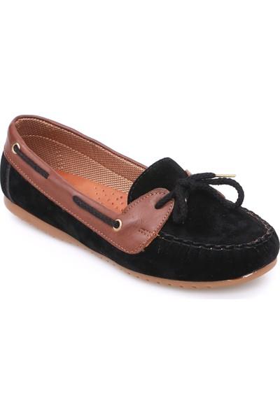 Zerrin Ayakkabı Siyah Süet Bağcıklı Kadın Babet-609118