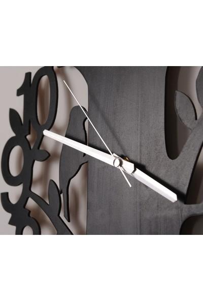 Ağaç Dekoratif Saat Mdf Duvar Saati (40 Cm)