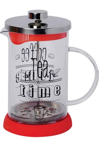 DS Filtre Kahve ve Çay Demleme - 600 Ml French Press Tea Time Yazılı