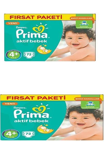 Prima Bebek Bezi Aktif Bebek Maxi Plus Hiper Ekonomik Paket 4+ Beden 144 Adet