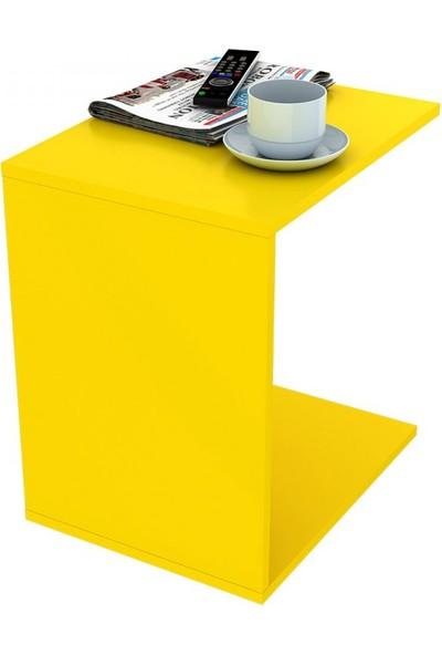 Adore Çok Amaçlı Tekerlekli C Koltuk Sehpası - Sarı