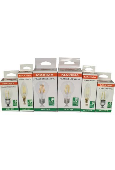 Maxima 4-50W E27 Filament Led Ampul Sarı Işık (Normal Duy)