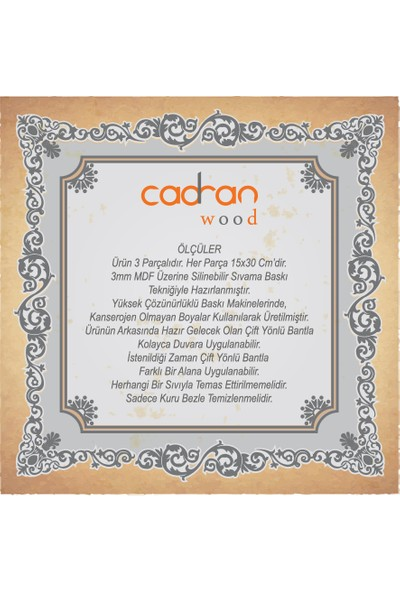 Cadran Wood 15x30 Cm 3 Parçalı MDF Tablo SCW130