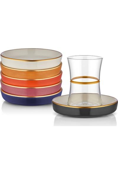Koleksiyon Tıryakı Çay Seti 6Lı Yenı Zıncır Altın Karma