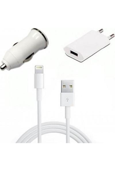 Inova Apple iPhone 5-5S-6-6-7 Plus -iPad Seyahat Ve Araç Şarjı Beyaz Renk