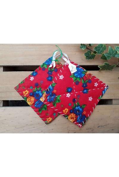 Begüldan Kırmızı Mavi Sarı Çiçekli Tutak