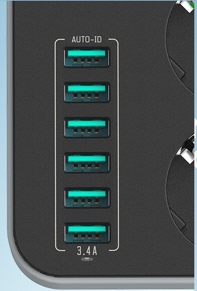 Ldnio Lisanslı Priz Anahtarlı Topraklı Kablolu Çocuk Korumalı 1,6 Metre x 6 Usb Port